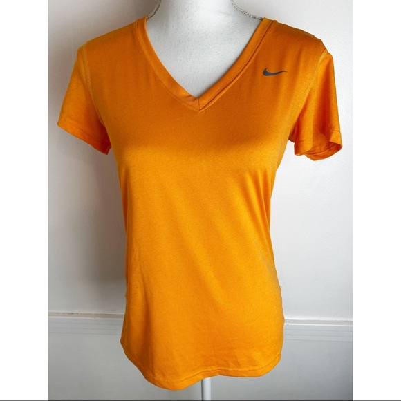 Nike • Orange V Neck Dri Fit Short Sleeve Shirt